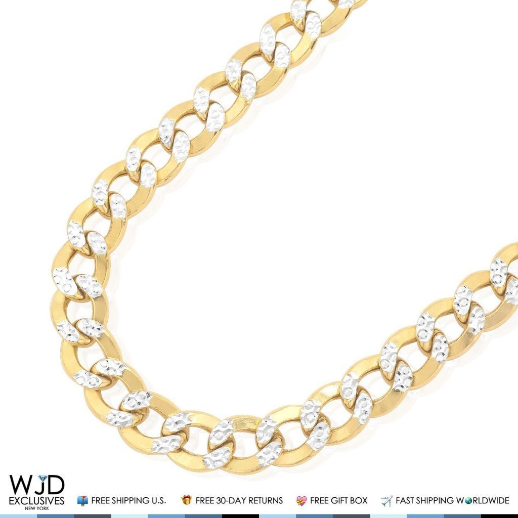 23332e1a1 11mm Wide Diamond Cut Cuban Curb Link Chain Necklace 10K Yellow Gold 24″