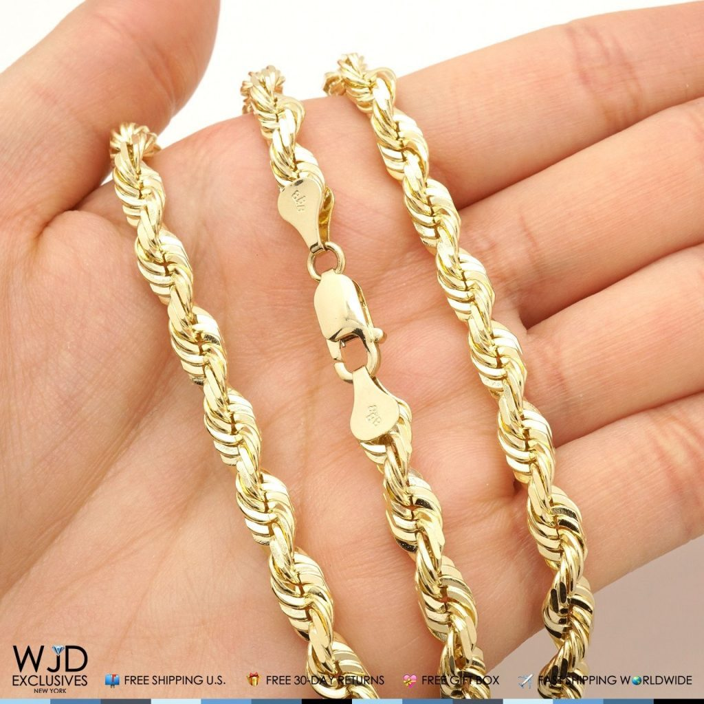 15e716075387f Solid 14K Yellow Gold 6mm Diamond Cut Rope Chain 24″ HEAVY | Best Men Gold  Chain