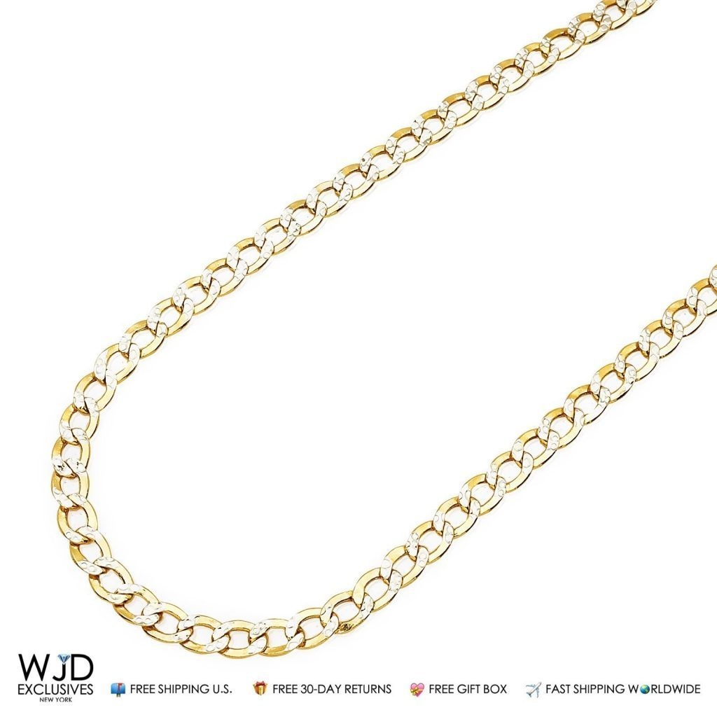 14k Solid Yellow Gold Diamond Cut 4 5mm Cuban Link Chain Necklace In 20 Best Men Gold Chain