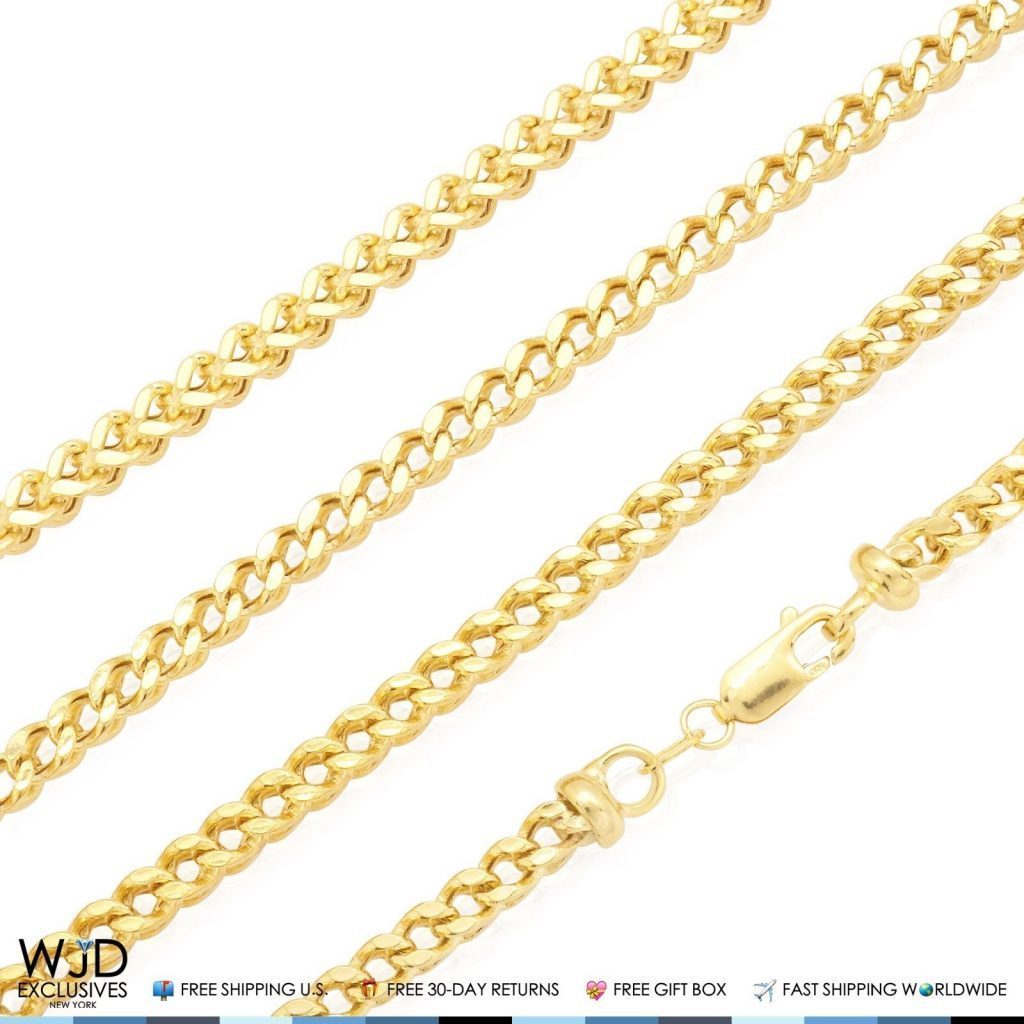 5b5af836a42cb 3.5mm Wide Franco Link Chain Necklace Lobster Clasp 10K Solid Yellow Gold  24-34