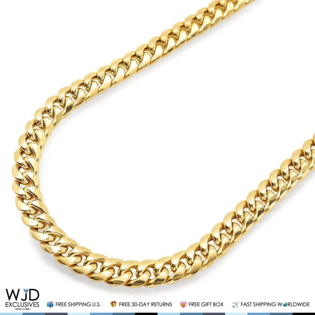 10k Gold Cuban Link Chain >> 10k Yellow Gold Hollow 7mm Miami Cuban Link Chain Necklace 34