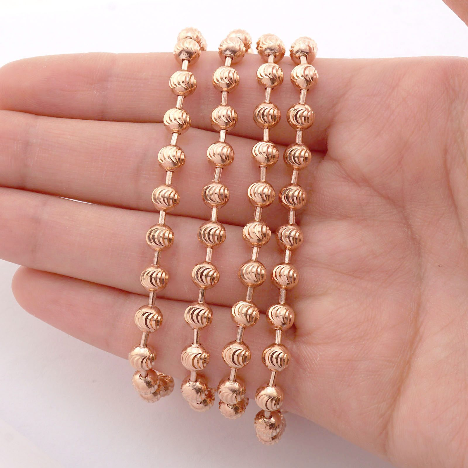 Gold Chains For Sale >> Solid 14k Rose Gold 5mm Moon Cut Ball Beaded Chain ...