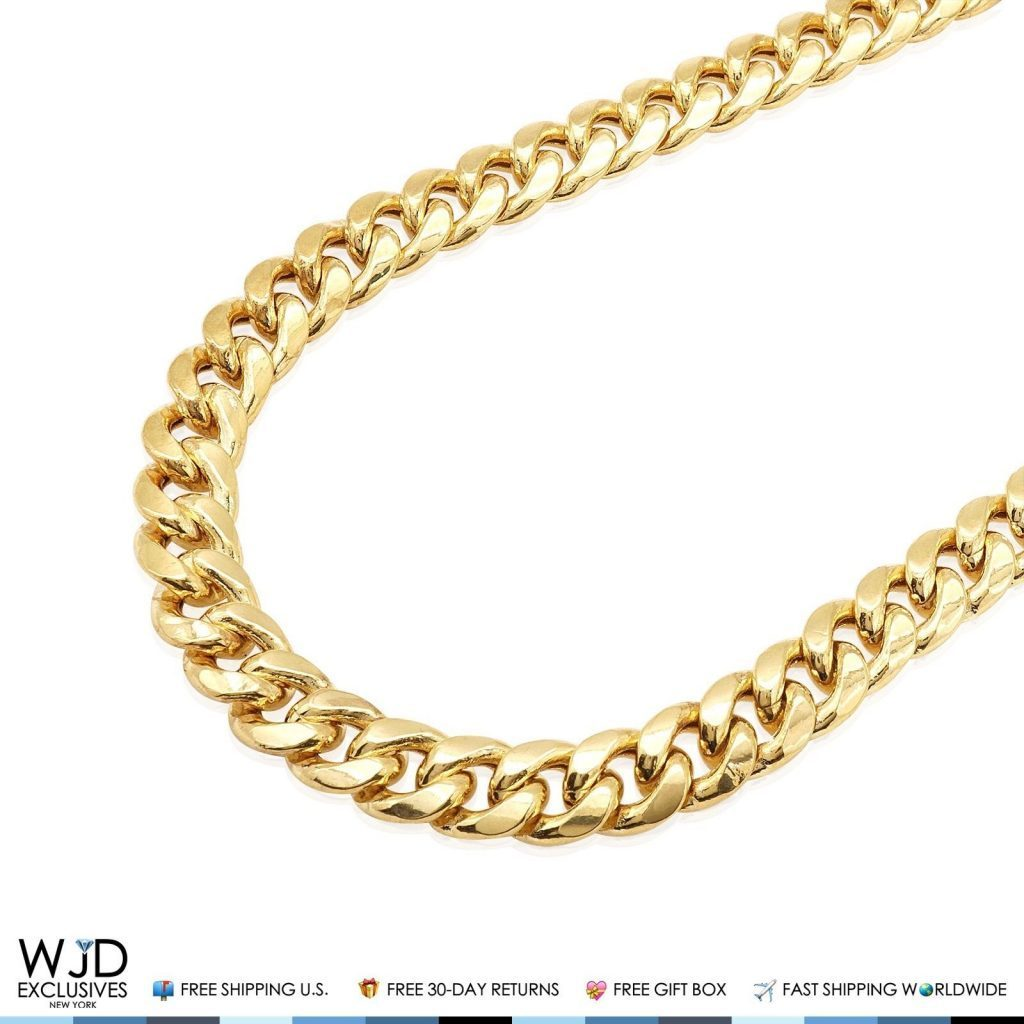 1de300e678ca4 14K Solid Yellow Gold 13mm Hollow Miami Cuban Link Chain Necklace 26