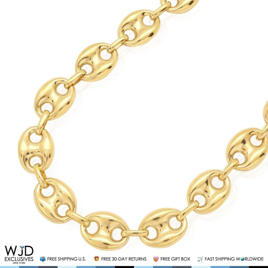 aa7fd9c00 10K Yellow Gold 12.3mm Puffed Anchor Mariner Chain Necklace 26 ...