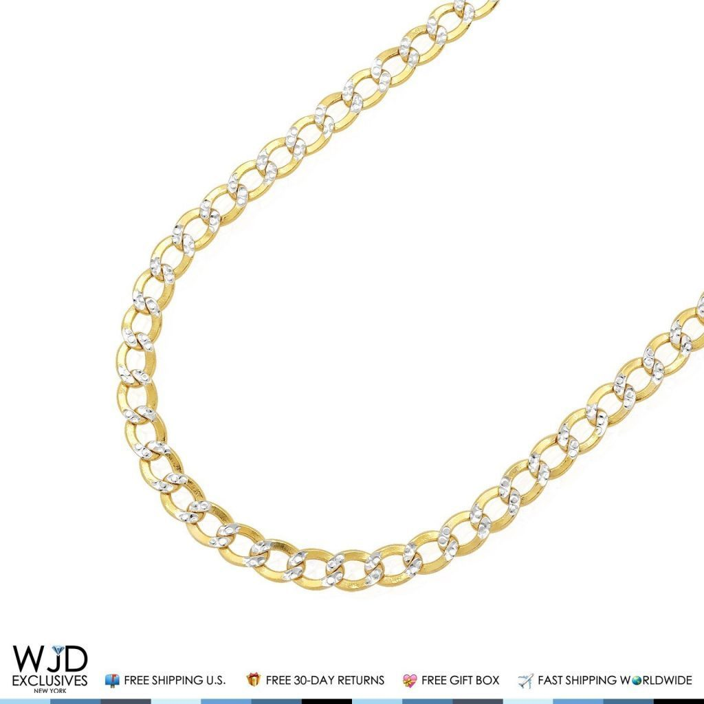 38b4edf64 4.4mm Wide Diamond Cut Cuban Curb Link Chain Necklace 10K Yellow Gold 16-24″