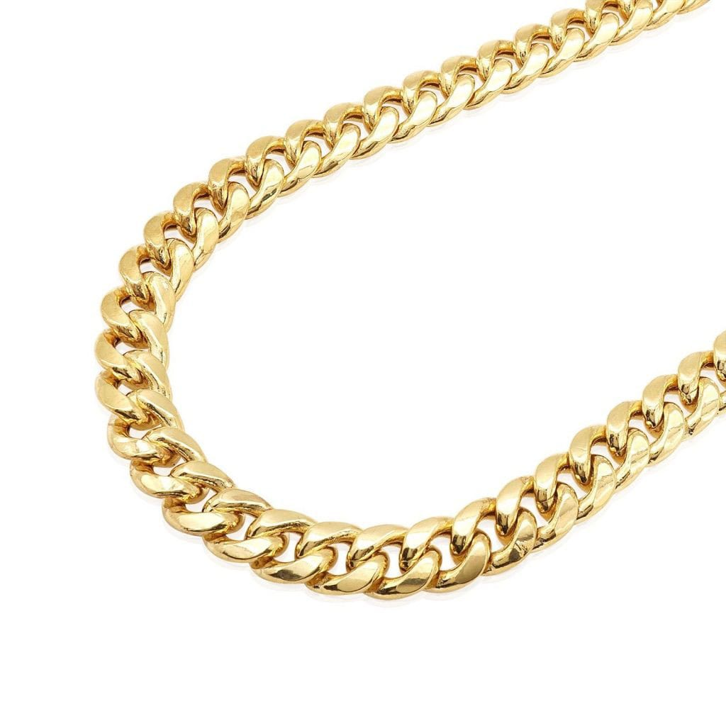4a73e6a48588a 14K Yellow Gold Hollow 9.5mm Miami Cuban Box Clasp Chain 24