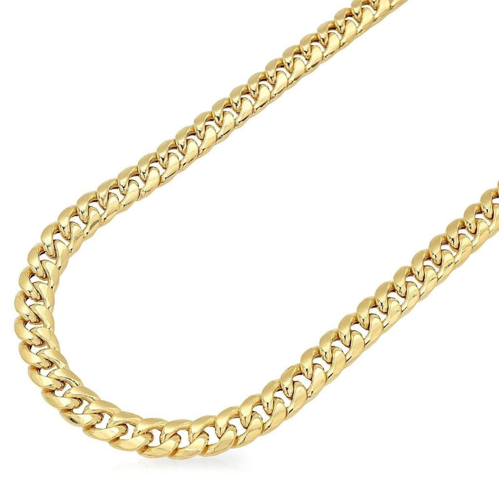 70328a009d920 14K Yellow Gold Hollow 7.5mm Miami Cuban Link Chain Necklace 24