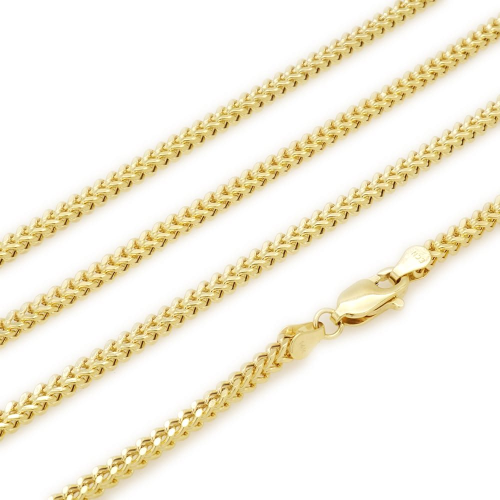 d67fb61843ce3 14K Yellow Gold Hollow 2mm Franco Link Chain 18″ 20″ 22″ 24″ 26″ 28″ 30″ |  Best Men Gold Chain