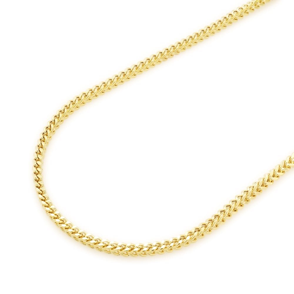 5dd0379288c8c 14K Yellow Gold Hollow 2mm Franco Link Chain 18
