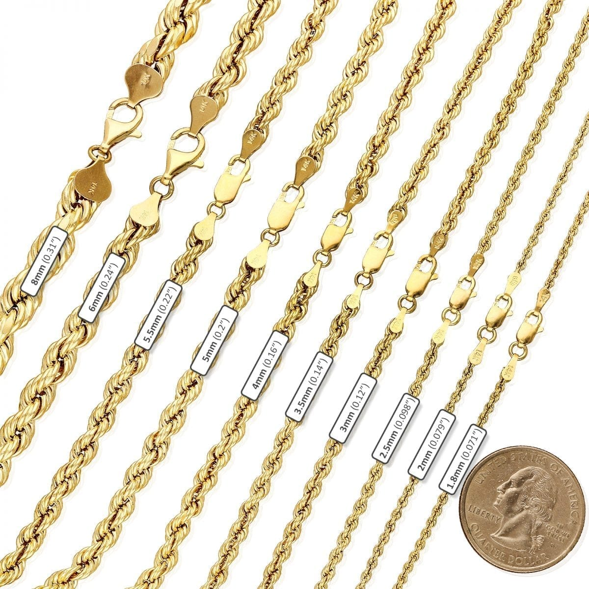 14k Yellow Gold Solid 1.8mm Diamond Cut Rope Chain Pendant Necklace 16-30